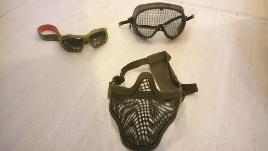 Different kinds of airsoft face protection